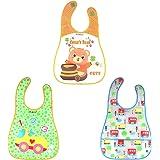 WonderKart Set of 3 Waterproof Baby Apron Cum Bib - Random Colors and Designs