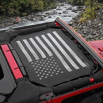 Black-2 Voodonala Durable Mesh Sunshade Top Cover Provides UV Sun Protection for Jeep Wrangler 2007-2018 JK