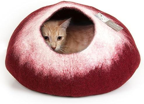 Amazon.com: kittycentric Cozy gato cueva bed- hecho a mano ...