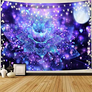 Hippie Tapestry Wall Hangings Mountain Tapestry Moon Tapestry Nature Landscape Tapestry for Bedroom Living Room Decor Sofa Cover(90.5 x 59.1 inches)