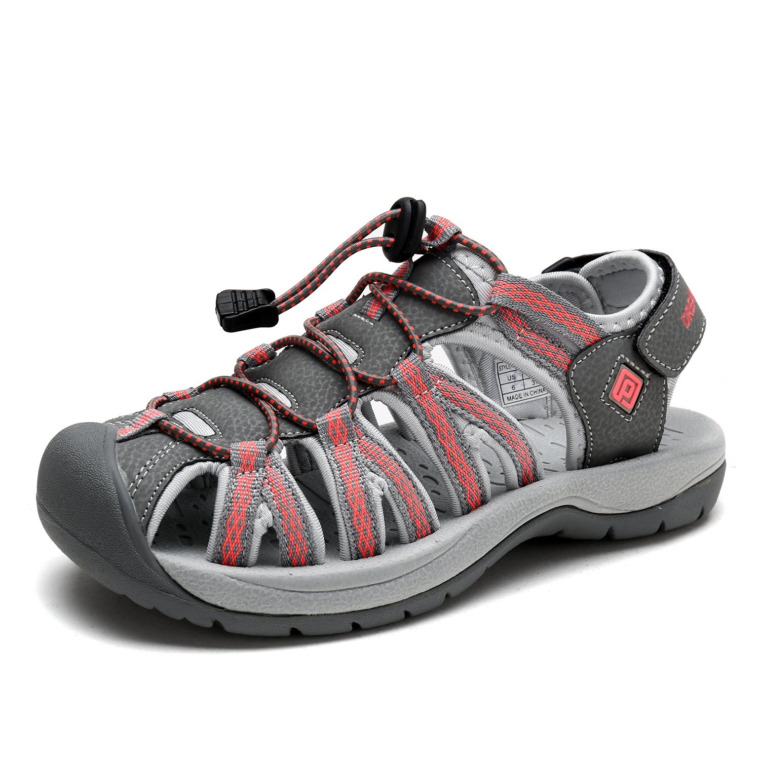DREAM PAIRS Women's 160912-W Adventurous Summer Outdoor Sandals B077GBG1QS 8.5 B(M) US|New Grey Coral