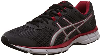 ASICS Men's Gel-Galaxy 8 Dark Grey, Silver and Racing Red Running Shoes -