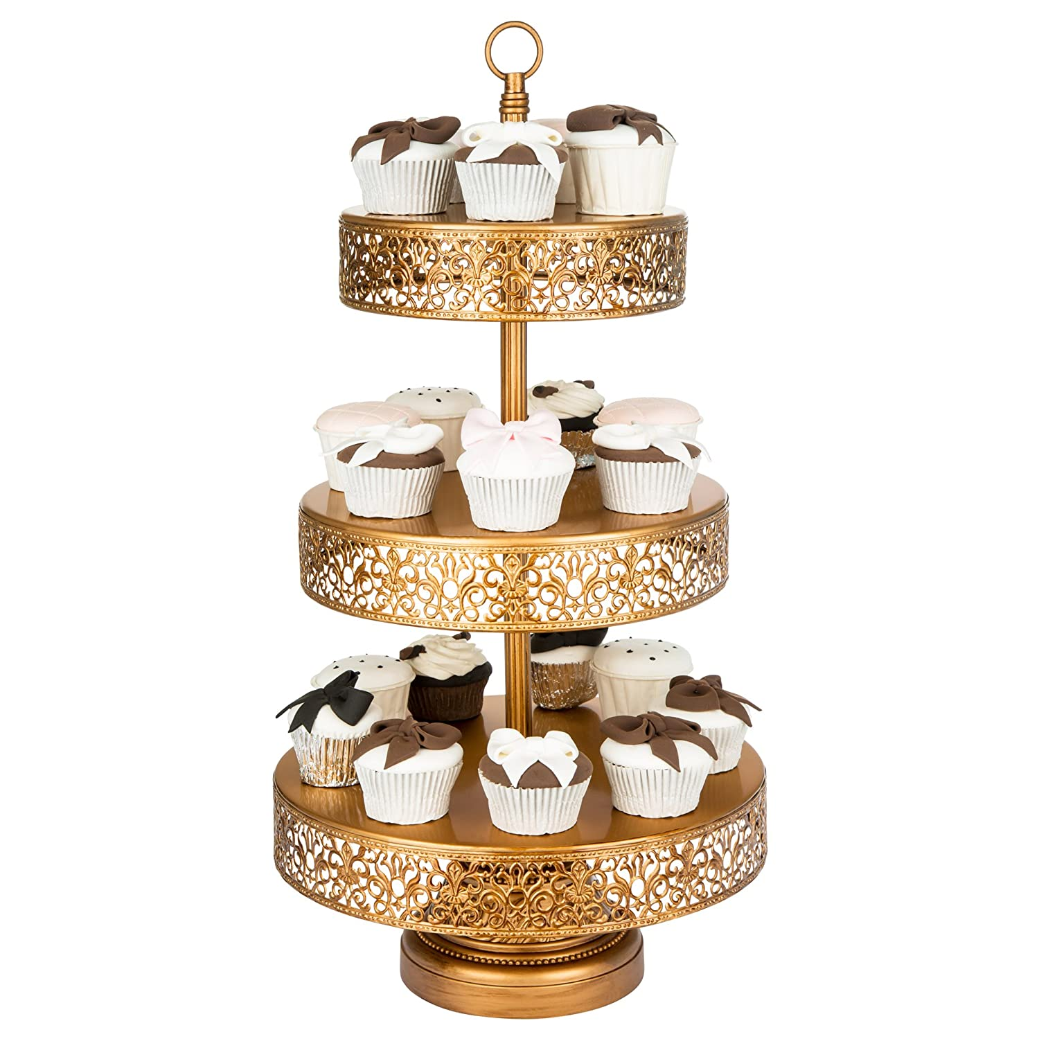 victoria collection antique gold 3 tier cupcake stand