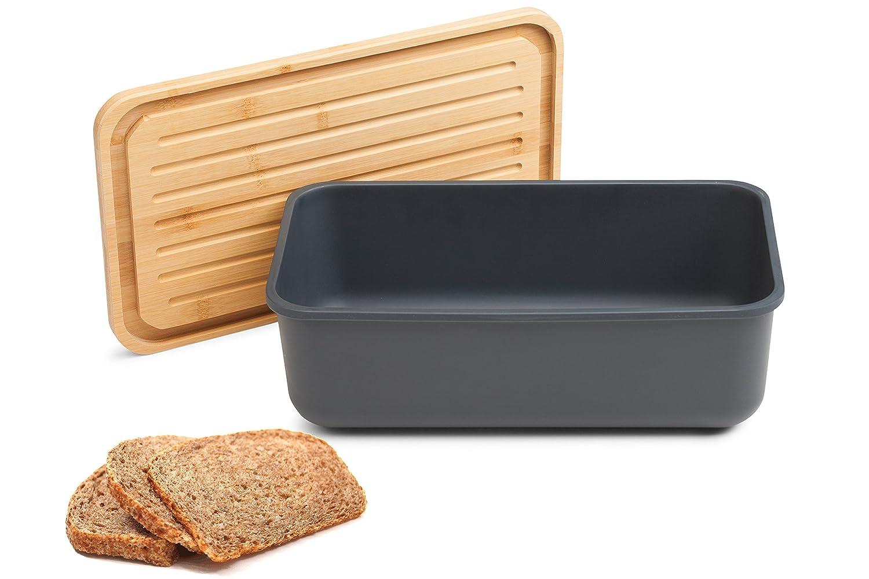 Tivoli Portapane melamina/Con coperchio realizzato in bambù / 40 x 23 x 13 cm/Posto perfetto per conservare il pane/Rettangolare