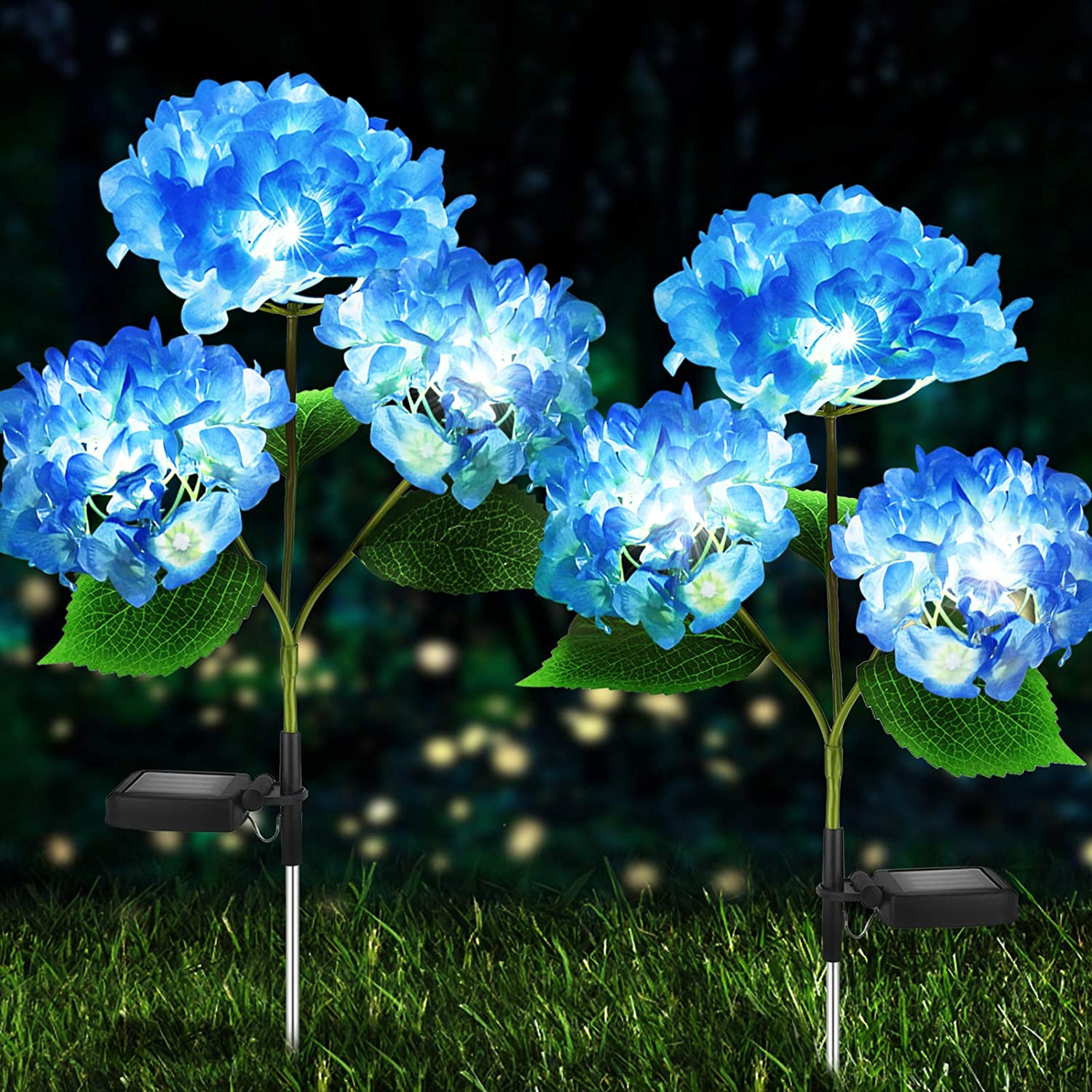 Solar Lights Outdoor Decorative - 2 Pack Hydrangea Solar Garden Stake Lights Waterproof and Realistic LED Flowers Powered Outdoor In-Ground Lights for Garden Lawn Patio Backyard (Blue)