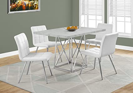 Amazon Com Monarch I 1043 Dining Table 36 X 48 Grey Cement Chrome