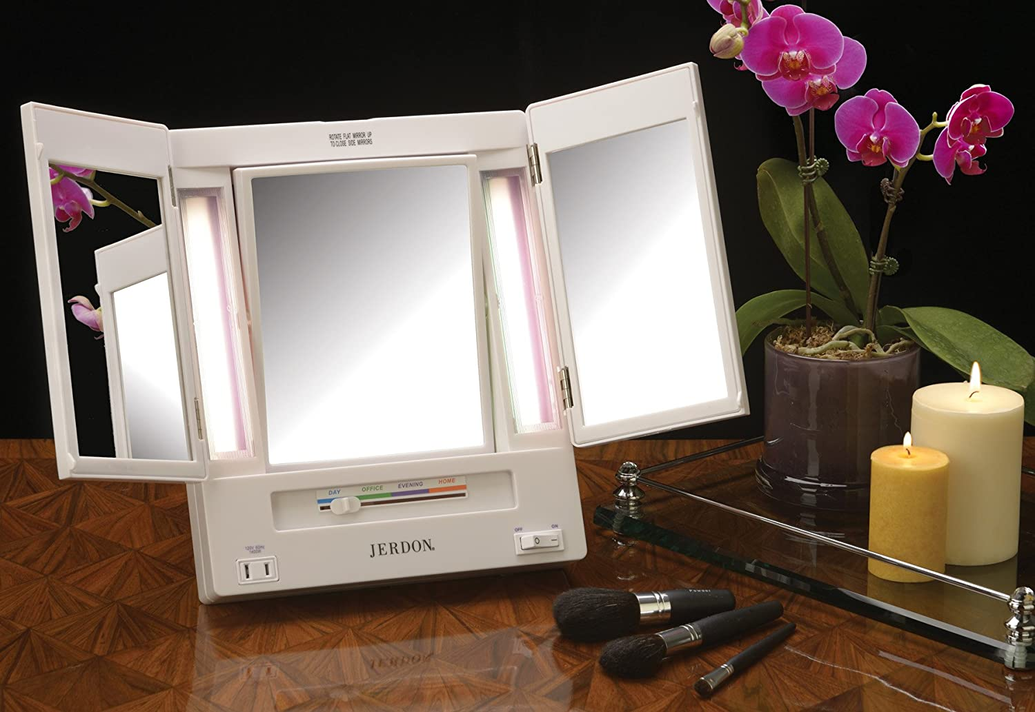 Amazon jerdon tri fold two sided lighted makeup mirror with 5x amazon jerdon tri fold two sided lighted makeup mirror with 5x magnification white finish personal makeup mirrors beauty aloadofball