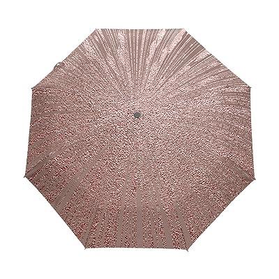 Naanle Metallic Gold Rose Pink Glitter Auto Open Close Foldable Windproof Umbrella