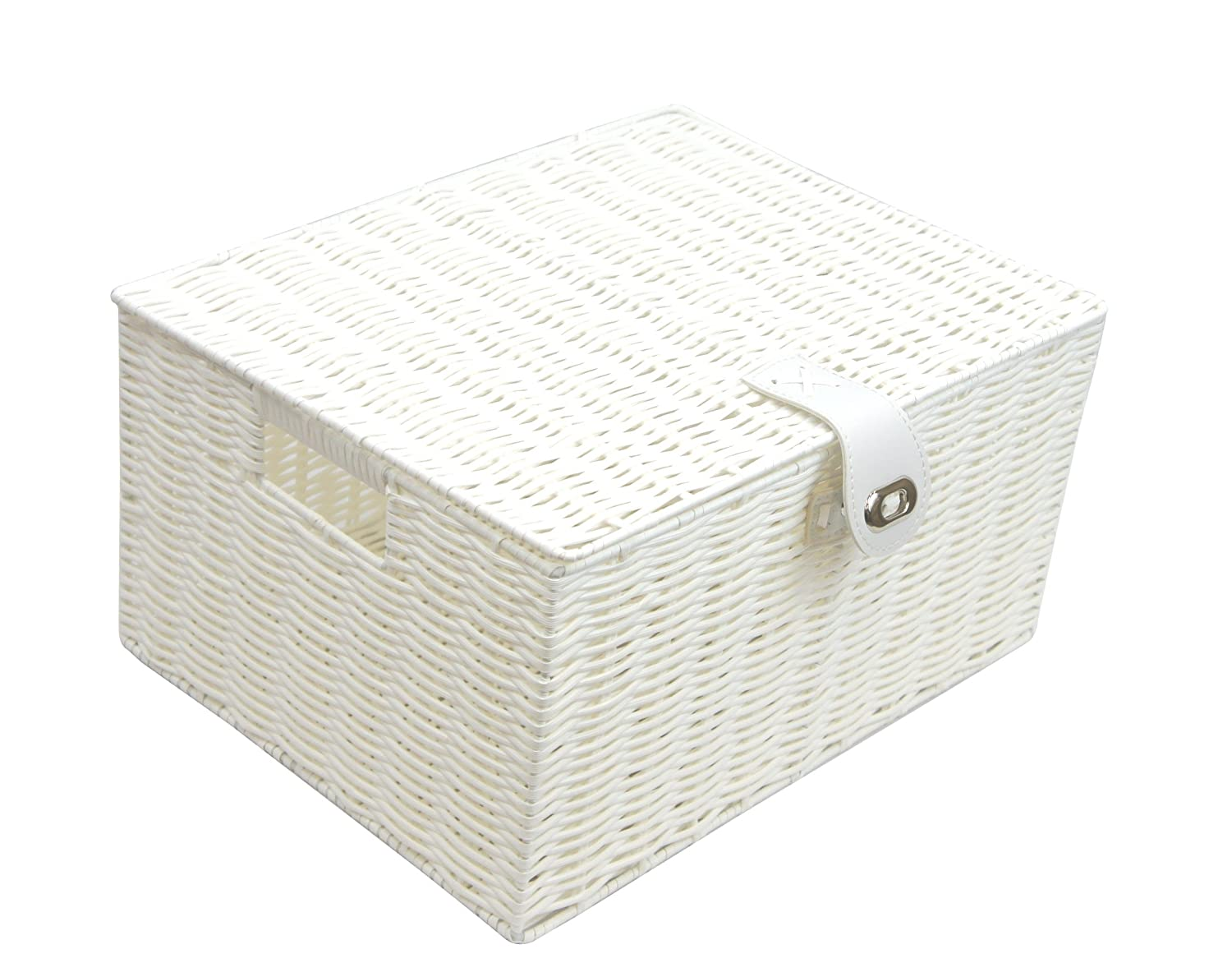 ARPAN large resin woven storage basket box with lid & lock – White PP-9119LW