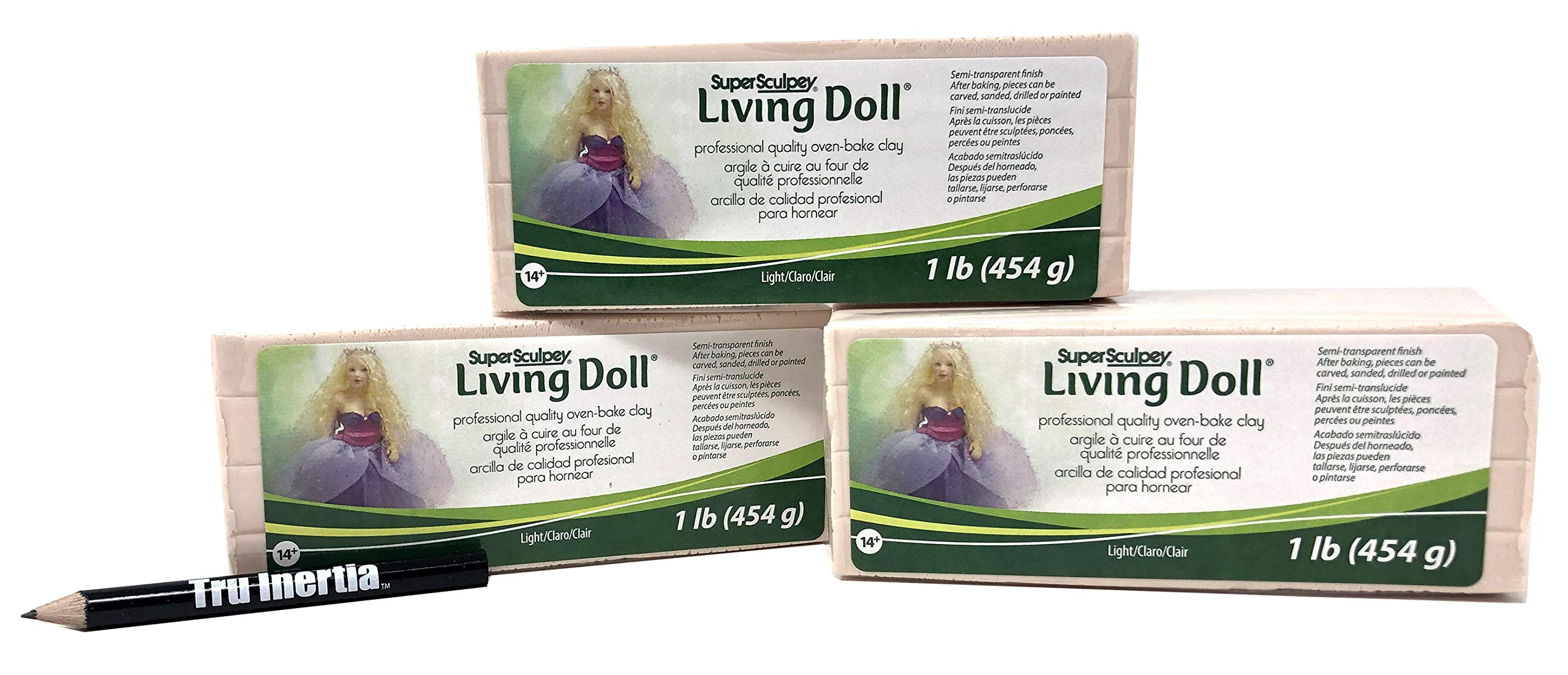 Tru Inertia Super Sculpey Living Doll Oven-Bake Clay Light Pack of 3 (1 Pound) Pencil