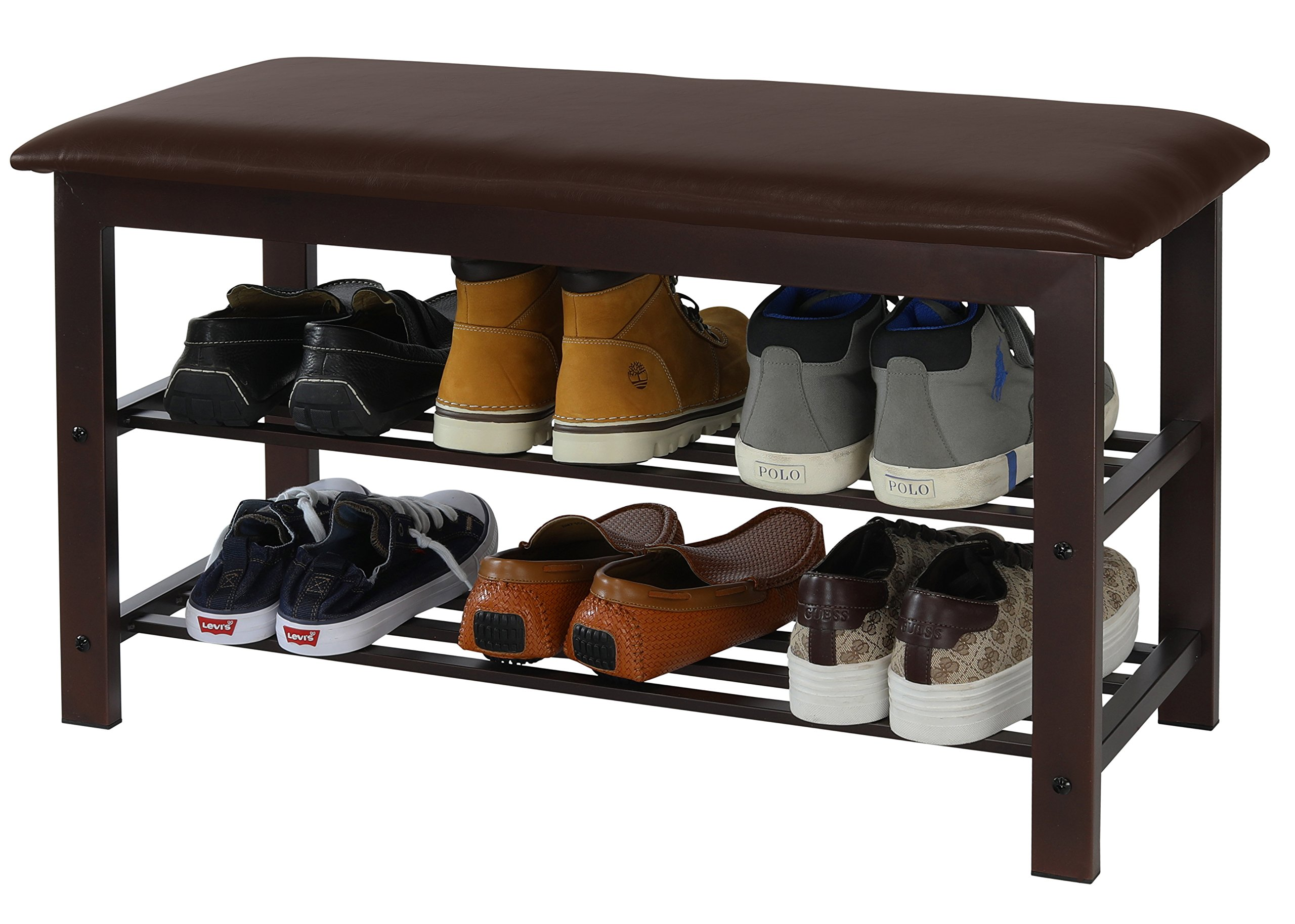 Simple Houseware Faux Leather Top Shoe Bench for Entryway Shoes Storage Organizer Rack by Simple Houseware (Image #3)