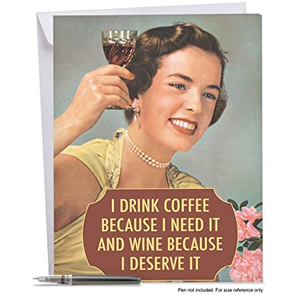 Amazon J4077bdg Jumbo Funny Birthday Card Drink Coffee And