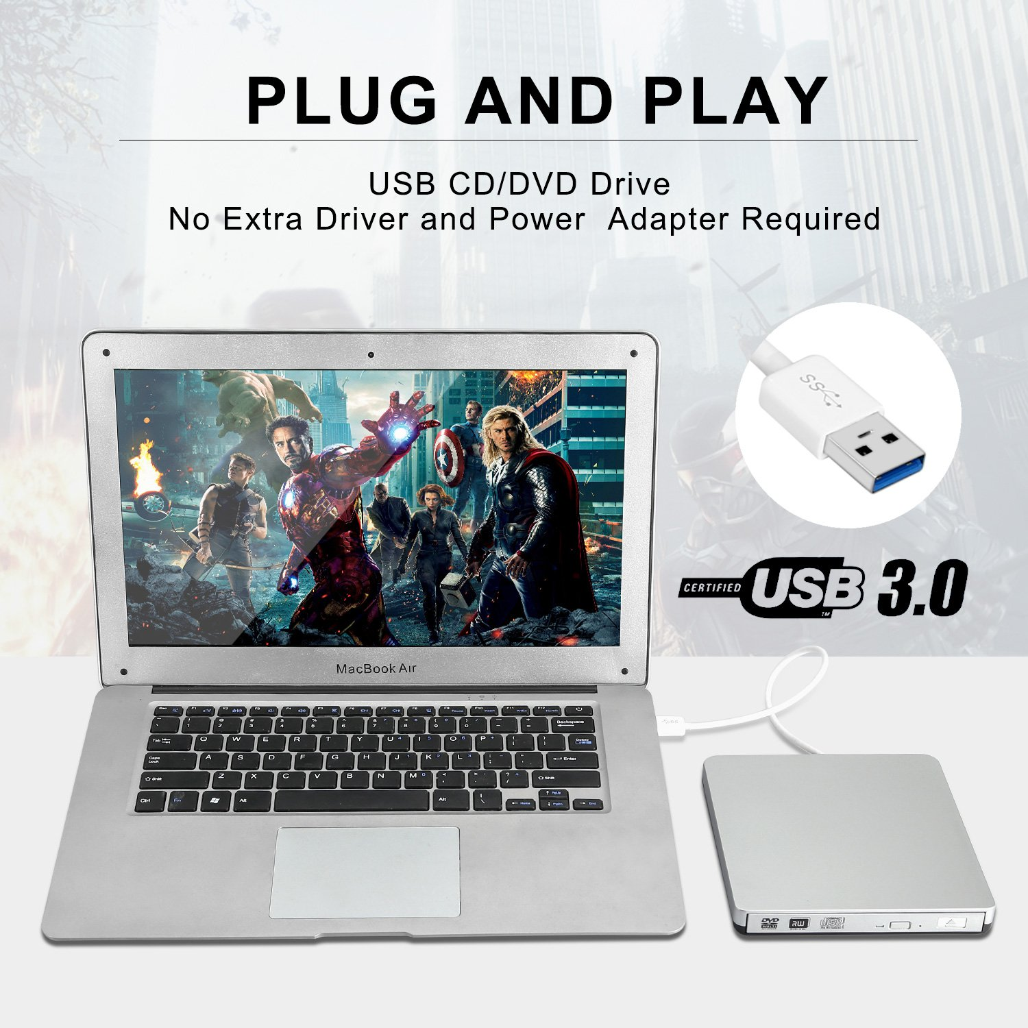 ZSMJ External USB 3.0 DVD Drive, DVD-RW CD-RW Writer Burner Player with Classic Silvery for Apple MacBook Air, Macbook Pro, Mac OS, PC Laptop by DoHonest (Image #5)