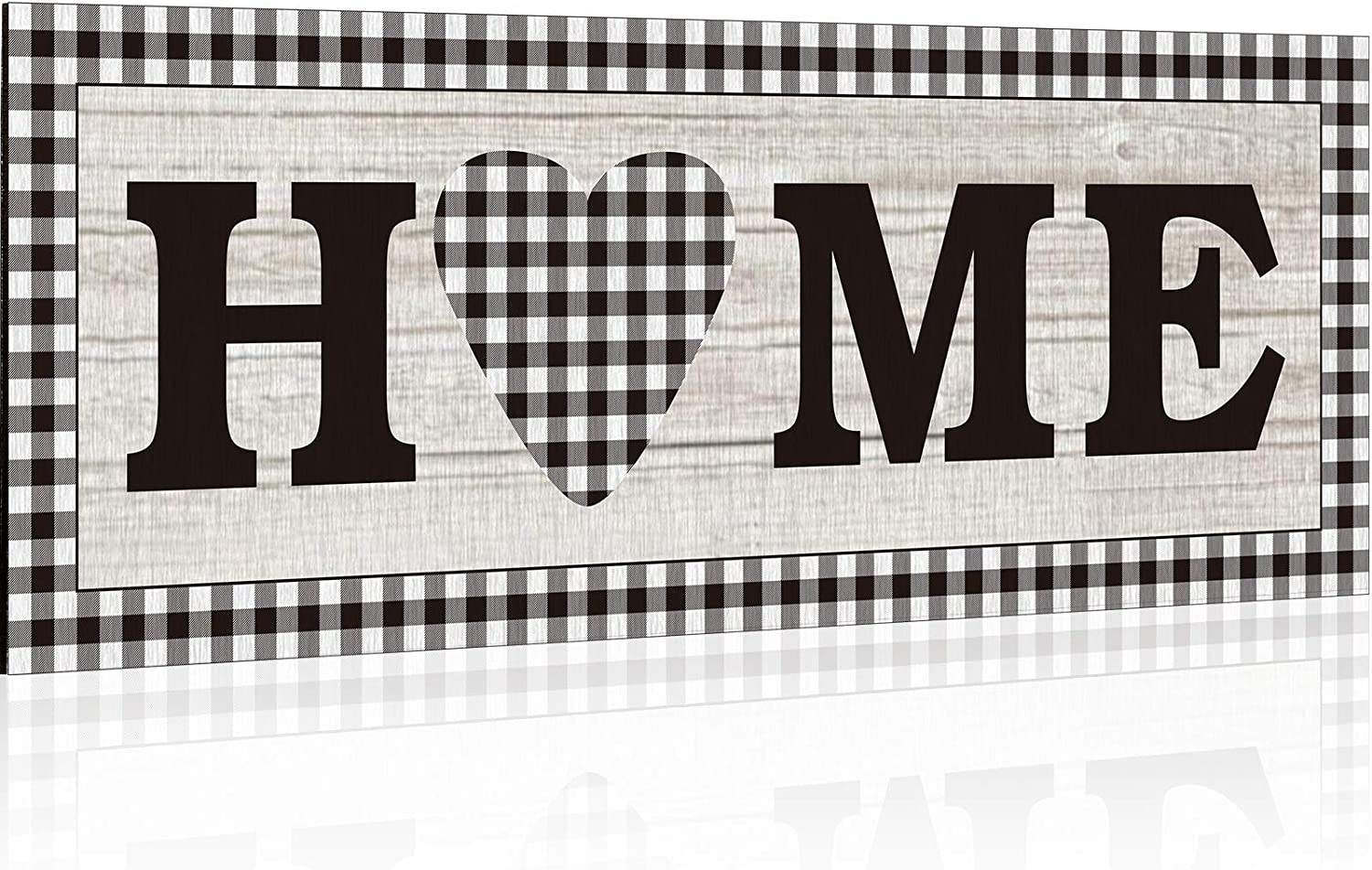 Jetec Home Wooden Sign Rustic Sweet Heart Pattern Wall Decor Buffalo Plaid Wooden Decoration Sign Rustic Wooden Wall Art Sign Farmhouse Sign for Home, Bedroom, Living Room, Wall, Wedding Decor