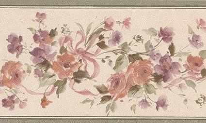 Red Purple Flowers On Vine Floral Wallpaper Border Retro