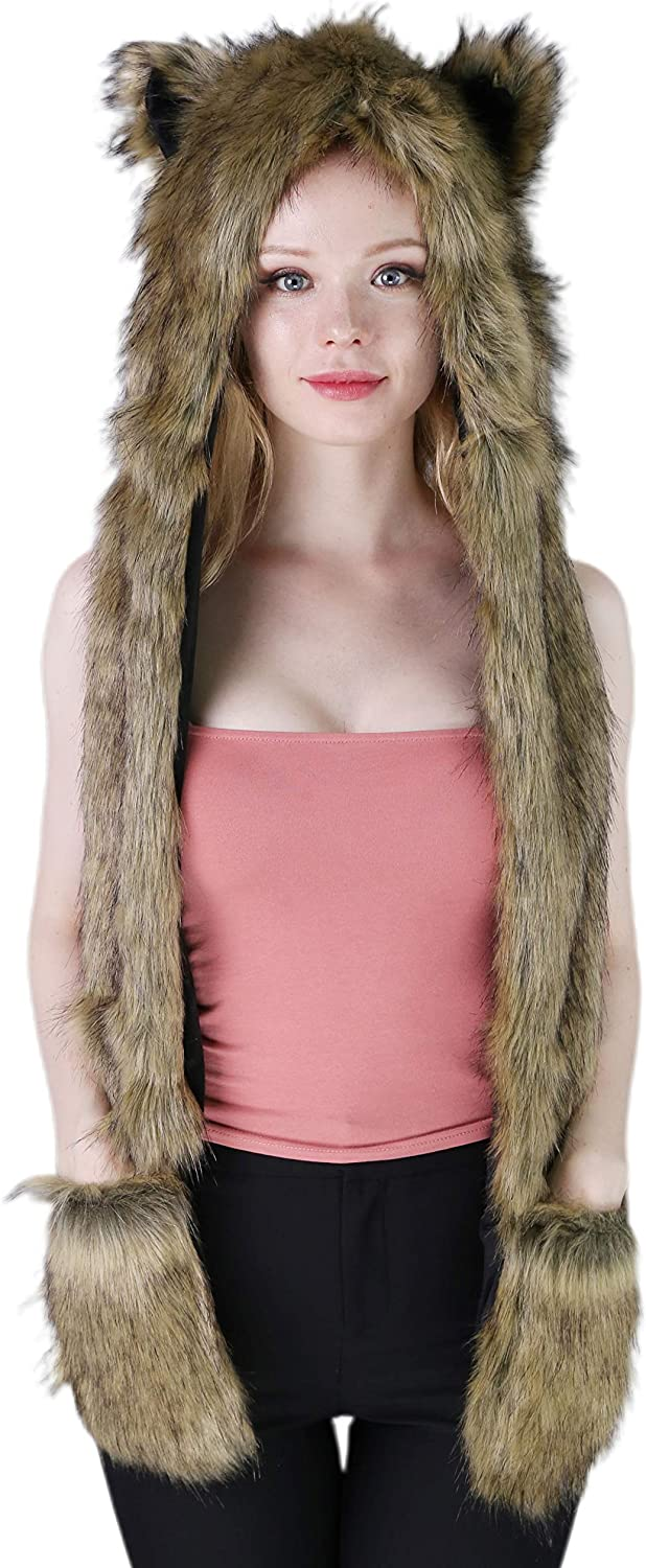 Animal Hat 3-in-1 Faux Fur...