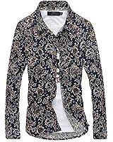 LOKOUO Slim Fashion Casual Men Shirt Long Sleeve Flower Color Slim Fit Shirt Men Turn-Dwon Collar Mens Dress Shirts Cool