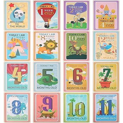 36 Hojas Juego de tarjetas para compartir fotos de Milestone Tarjetas de edad para bebés - Tarjetas de Milestone para bebés, Tarjetas de foto para ...