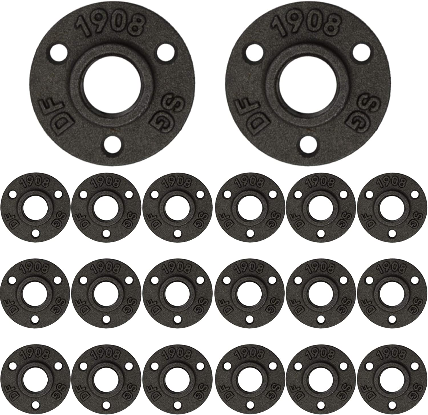 Brooklyn Pipe Flange - 20 Pack 1/2 Inch Floor Flange Cast Iron Pipe Fittings 1/2 Inch Flange Industrial Pipe Flanges Decorative Pipe Fitting Fit for Steampunk Furniture