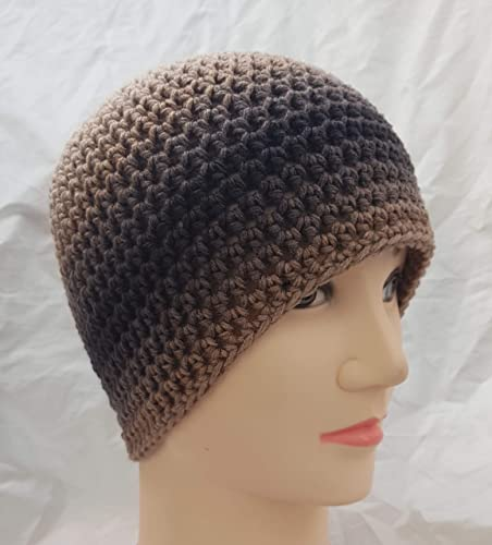 Amazoncom Mens Brown Crochet Beanie Hat Handmade
