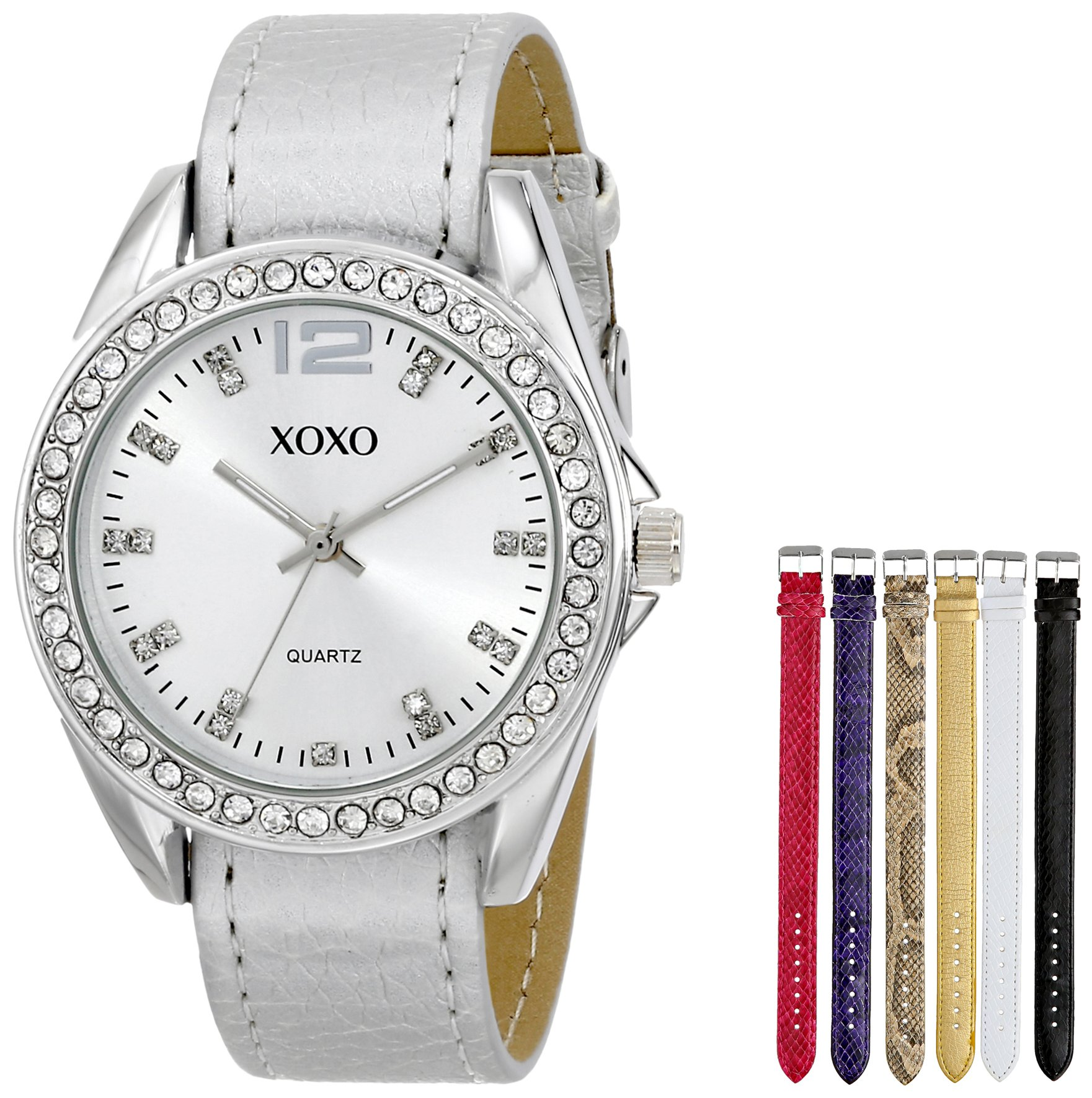 Galleon xoxo women 39 s xo9062 silver tone watch with interchangeable bands for Watches xoxo