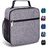 Insulated Reusable Lunch Bag for Women Men Kids-Leakproof Durable Cooler Lunch Box with Multi-Pockets & Detachable Buckle Handle Fits Office Work School Picnic-Gray