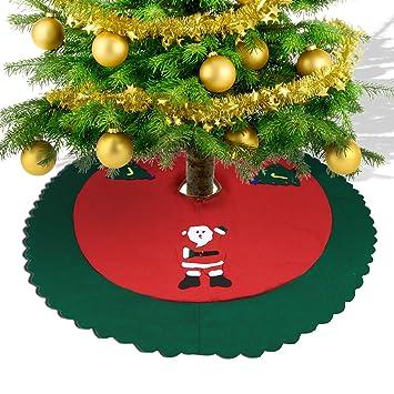 Konsait Falda del Árbol de Navidad rojo 35 Pulgadas de Navidad Fieltro Árbol Falda Base Mat Cubierta con Santa Claus para adornos de Navidad decoración de ...