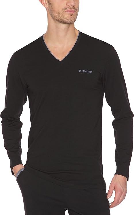 Calvin Klein - Camiseta de Pijama para Hombre, Talla S, Color Negro/Agate Stone Trim: Amazon.es: Ropa y accesorios