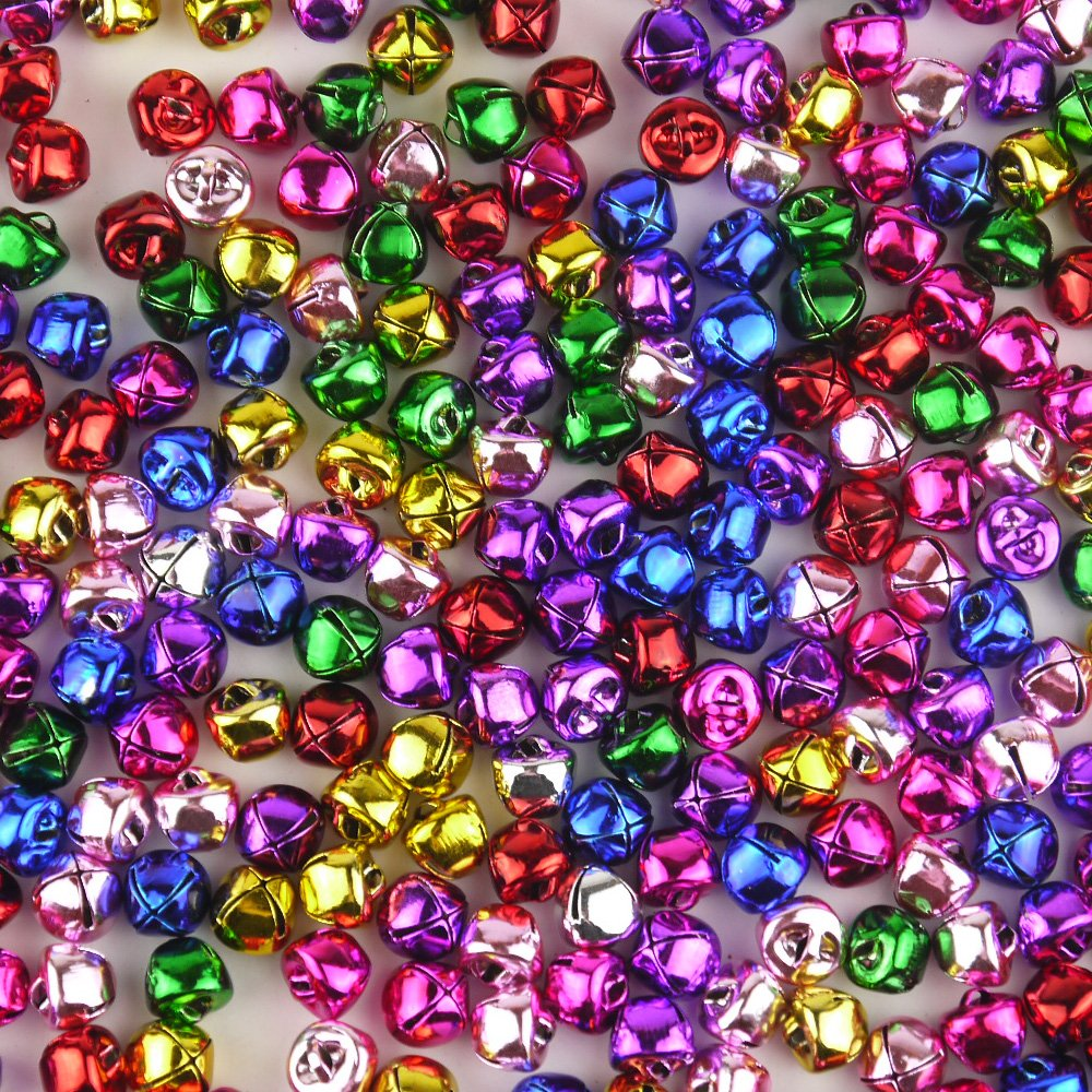 Lieomo 200pcs Mixed Color Metal Christmas Jingle Bells Perfect Holiday Wedding Party Decor Crafts Charms
