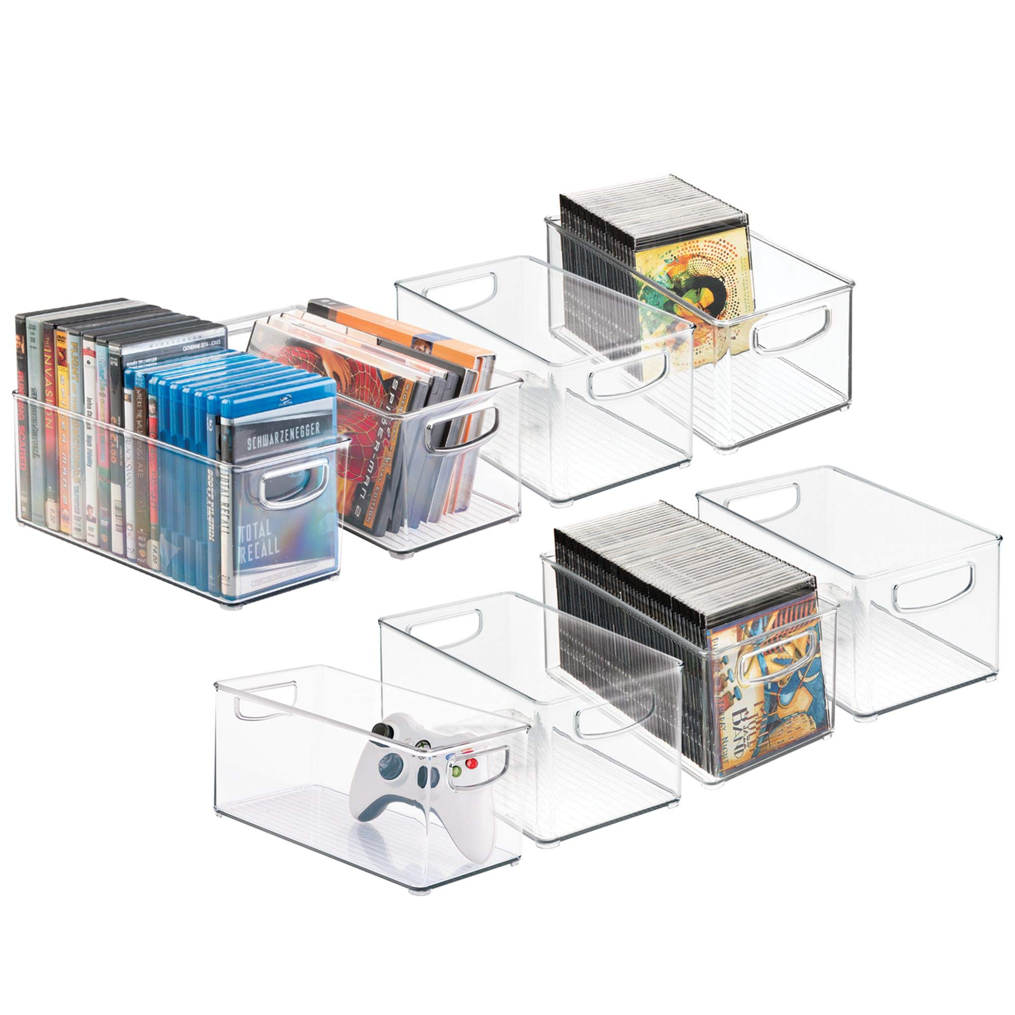 mDesign Plastic Stackable Household Storage Organizer Container Bin with Handles - for Media Consoles, Closets, Cabinets - Holds DVD's, Video Games, Gaming Accessories - BPA Free - 8 Pack, Clear