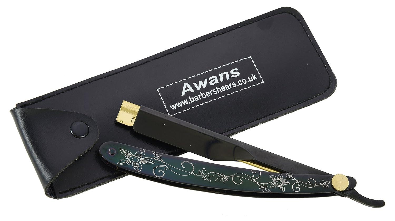 Asa de afeitar recto de titanio negro para hombres y cuchilla recta de  afeitar Awans 5060349506231 03075615605b
