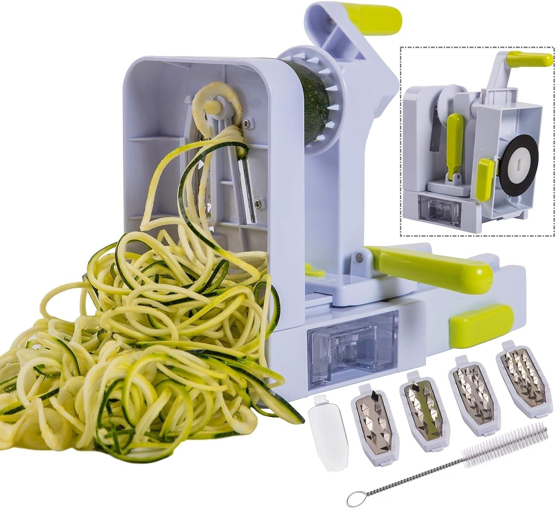 Brieftons QuickFold 5-Blade Spiralizer: Versatile & Compact Foldable Vegetable Spiral Slicer, Best Veggie Pasta Spaghetti Maker for Low Carb/Paleo/Gluten-Free with Brush & 4 Recipe Ebooks