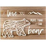 VILIGHT Woodland Bear Nursery Wall Decor for Baby Boys and Girls - New Mom Gifts Rustic Sign for Mommy and Kids - I Love You