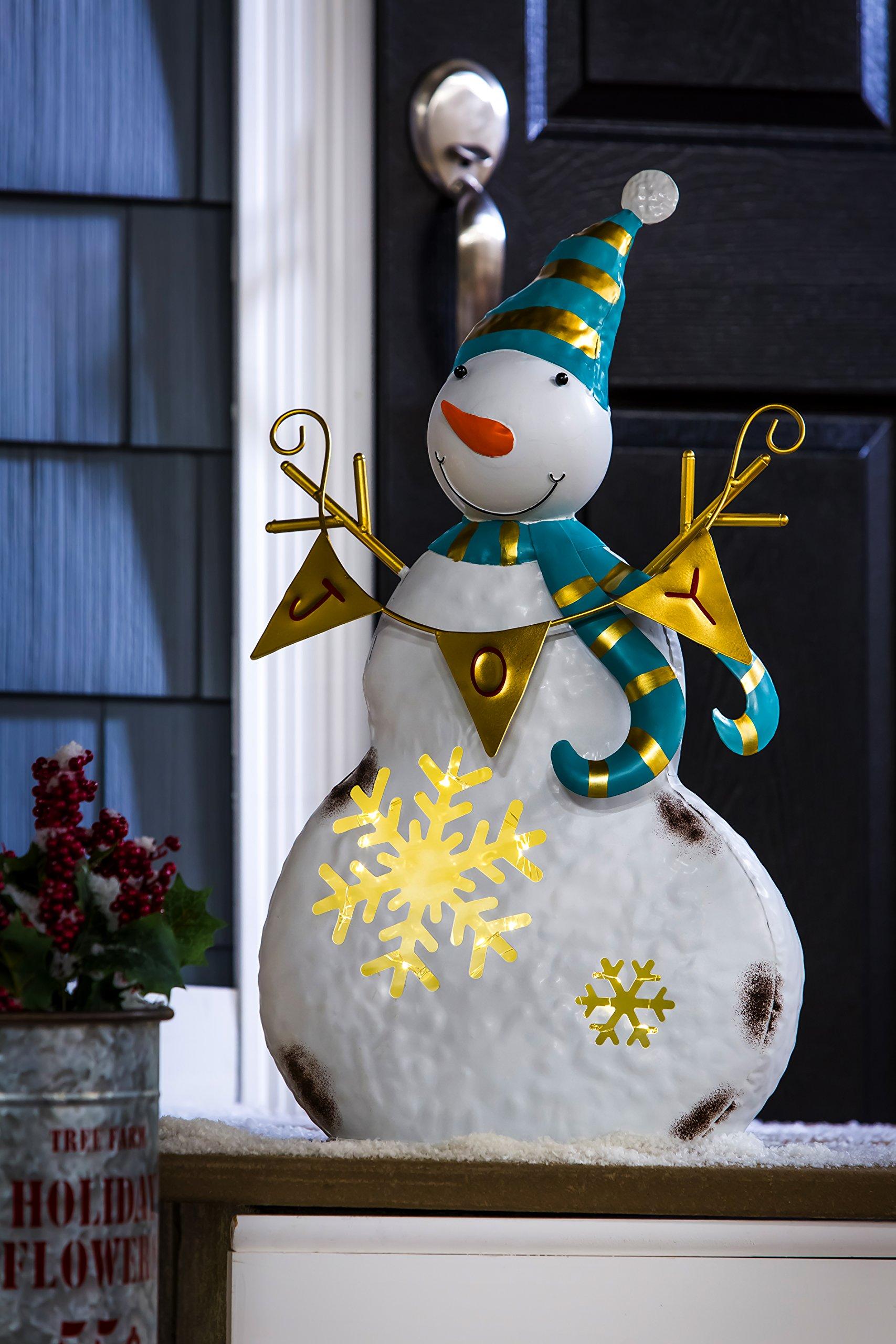 New Creative Joy Metal Snowman, illuminated LED Christmas Statue, Battery Operated
