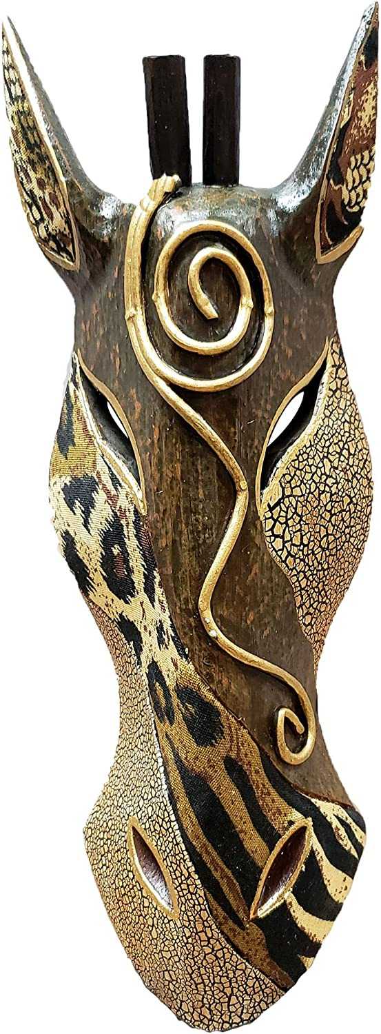 Giraffe Zebra Face Mask Wall Hanging Décor Hand Painted Patterns African Safari Style Decorative Accent Contemporary Variation an Awesome Gifting Idea 20 Inch and 12 Inch (20 Inch, Giraffe OL)