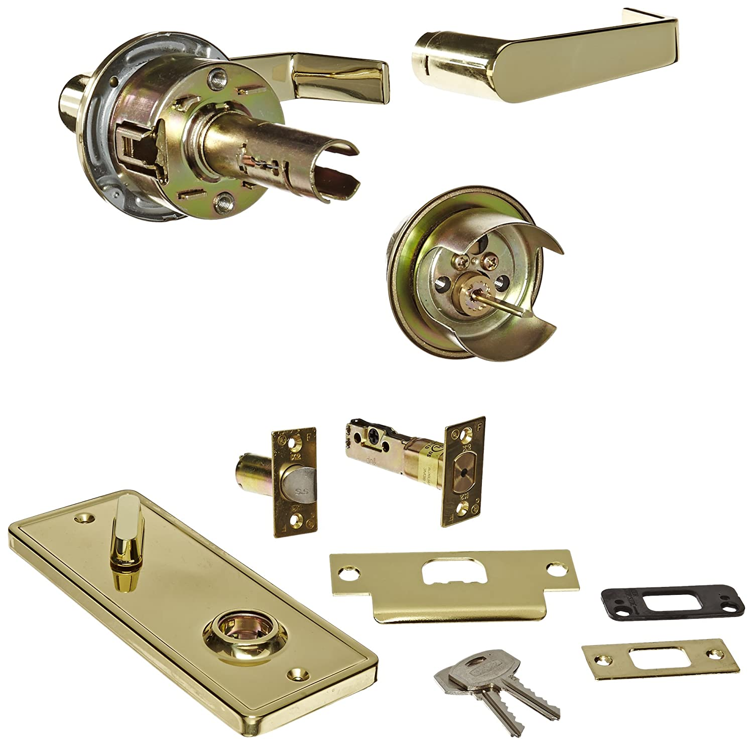 Stanley Commercial Hardware Commercial Single Locking Passage Lever from the QCI200 Collection, Sierra Style, Bright Brass Finish by Stanley Commercial Hardware B00CLIM58Y