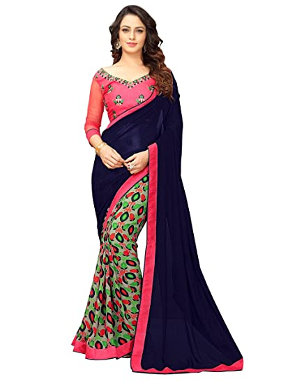 b91a6e3a5b Online Fayda Women's Georgette Saree (Of230,Blue & Pink,Free Size):  Amazon.in: Clothing & Accessories
