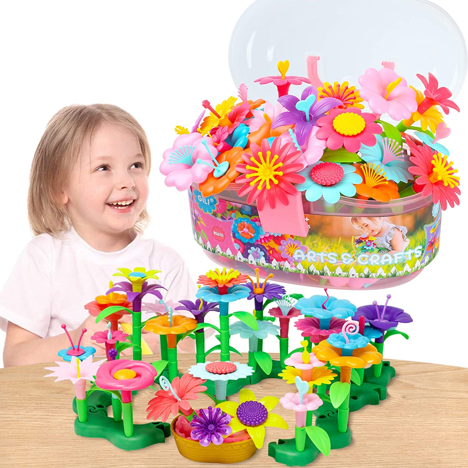 JIPOWER Toys for 3-12 Year Old Girls Flower Garden Building Toys for 3-5 Year Old Girls Birthday Gifts Age 6-8 Learning Educational Toys for Kids Preschool Activities for 3-4 Year Olds Gifts