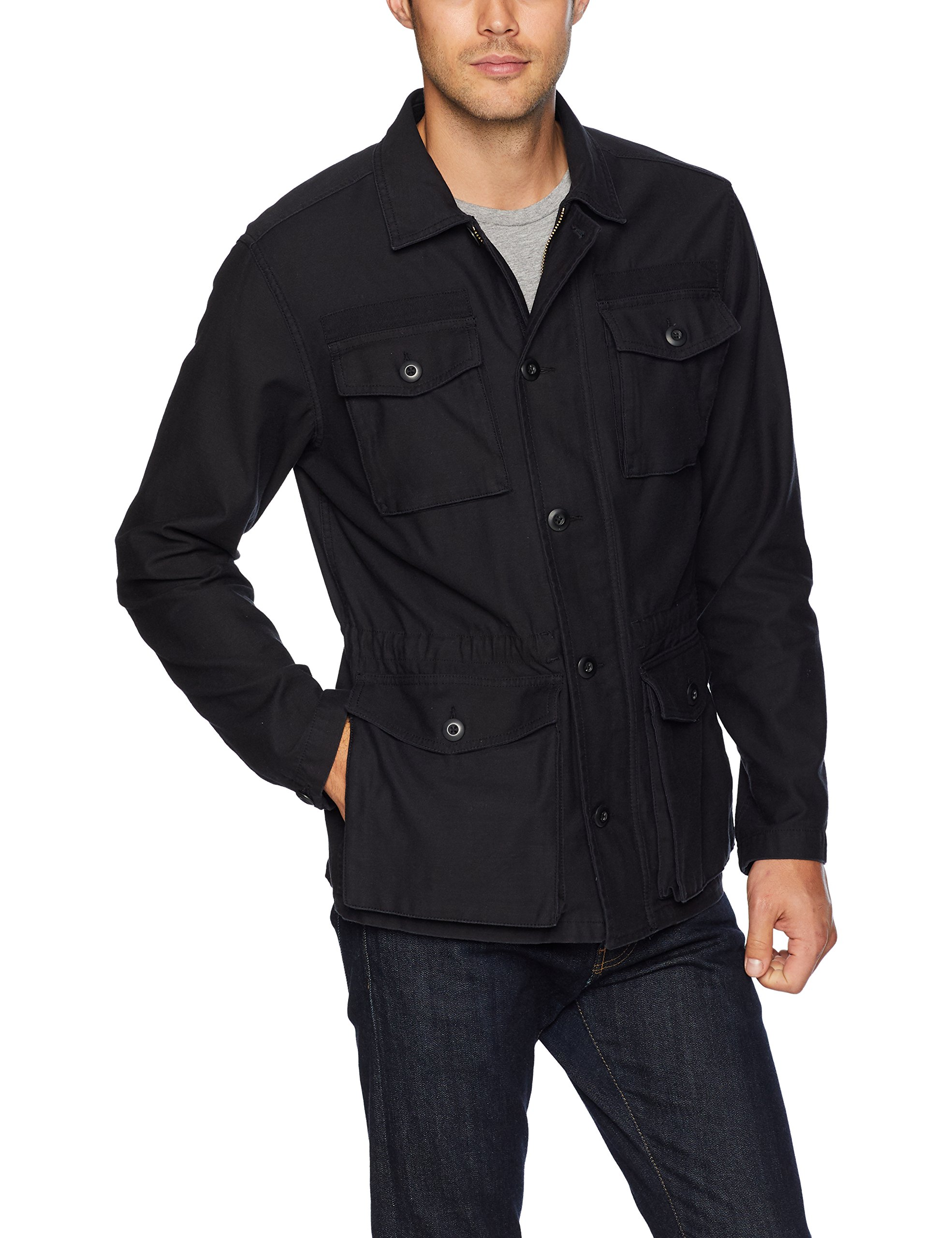 Goodthreads Men's 4-Pocket Military Jacket, Caviar/Black, Large