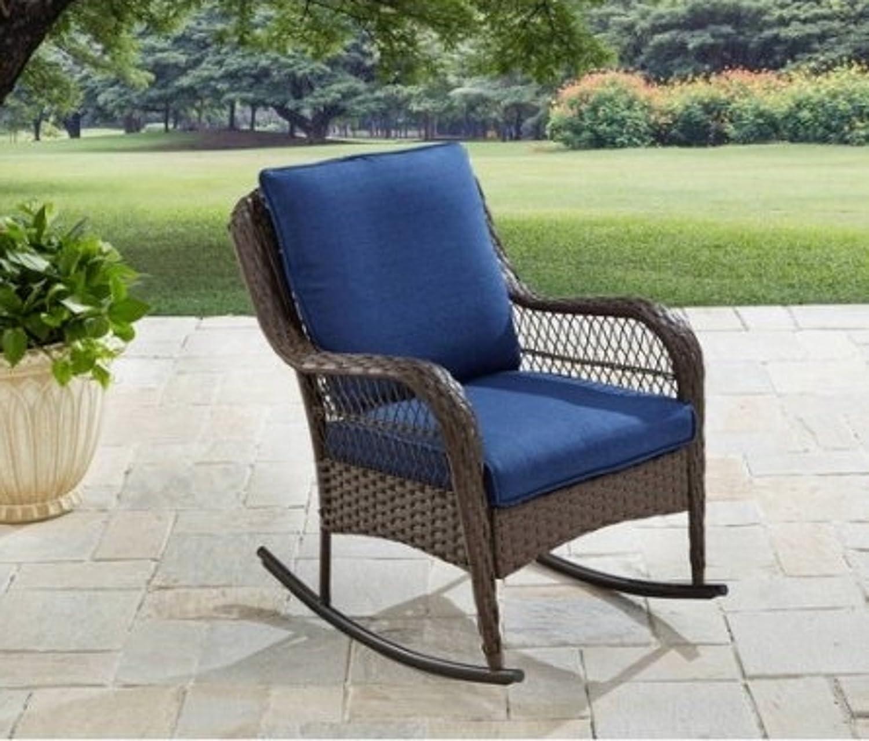 Amazon com colebrook patio furniture rocking chair blue garden outdoor
