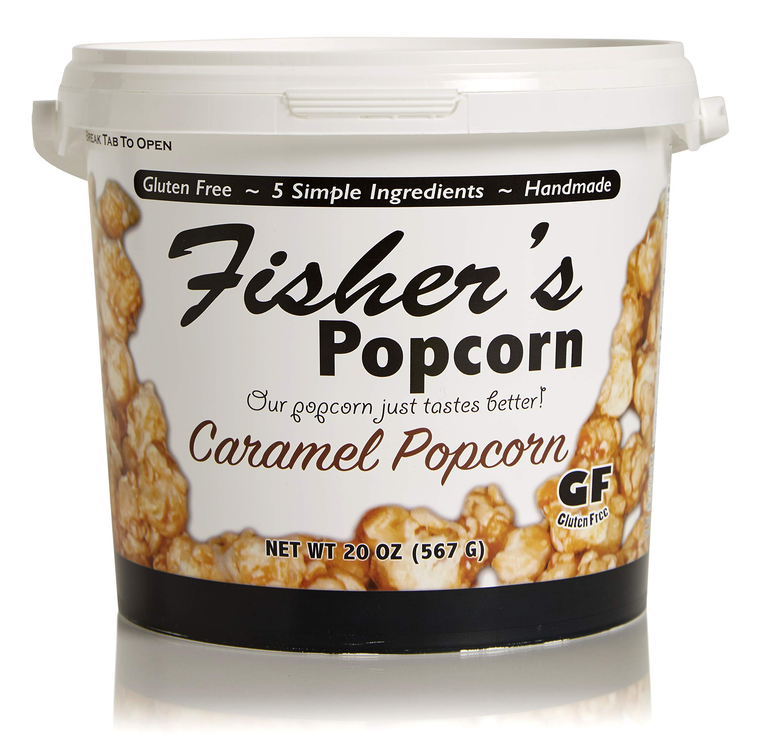 Fisher's Popcorn Caramel Popcorn, Gluten Free, 5 Simple Ingredients, Handmade, No Preservatives, No High Fructose Corn Syrup, Zero Trans Fat, 20oz Tub (1 Gallon) by Fisher's Popcorn