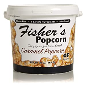 Fisher's Popcorn Caramel Popcorn, Gluten Free, 5 Simple Ingredients, Handmade, No Preservatives, No High Fructose Corn Syrup, Zero Trans Fat, 20oz Tub