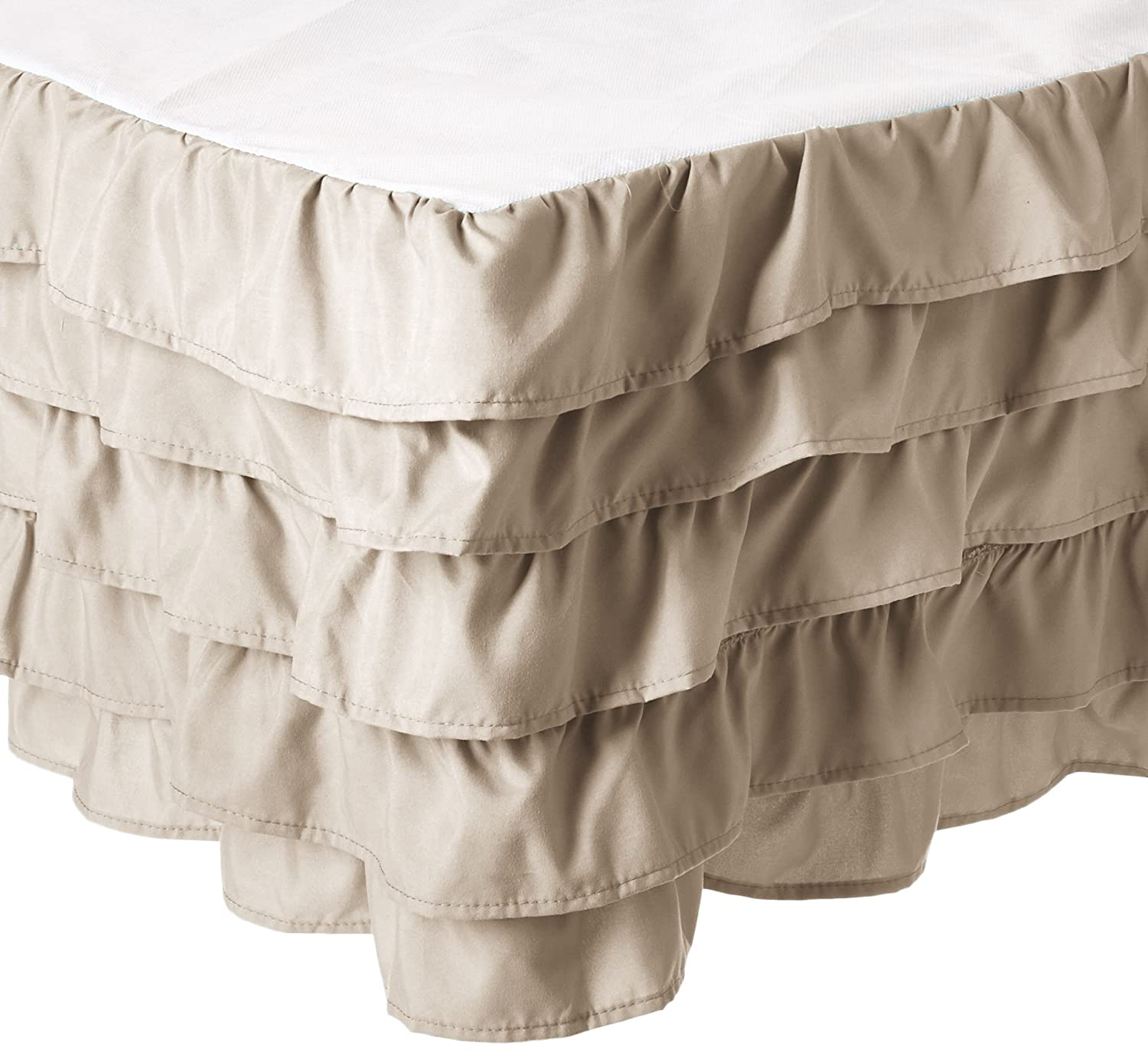 (Queen, Cream) Elegant Comfort Luxurious Premium Quality 1500 Thread Count Wrinkle and Fade Resistant Egyptian Quality Microfiber Multi-Ruffle Bed Skirt 38cm Drop, Queen, Cream B0714B9TH6 クイーン|クリーム クリーム クイーン