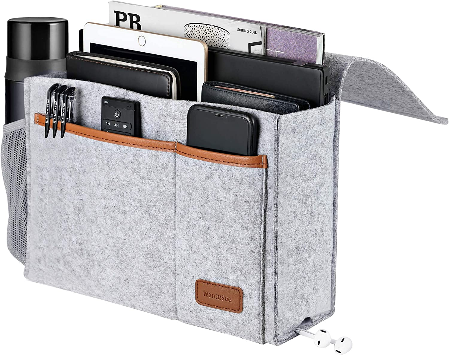 Bedside Caddy, Felt Bed Storage Organizer Hanging Bag Holder with 5 Pockets, Magazine Book Phone Tablet iPad Cables Remote and Water Bottle Holder for Home Dorm Bed Sofa, Light Gray