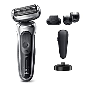 Braun Electric Razor for Men, Series 7 7027cs 360 Flex Head Electric Shaver with Beard Trimmer, Rechargeable, Wet & Dry with Charging Stand and Travel Case, Silver