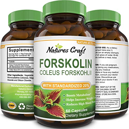 Natures Craft Pure Forskolin Extract for Weight Loss Supplement Powerful Antioxidant – Maximum Strength Belly Buster Healthy Weight Management Get Lean and Trim for Men and Women