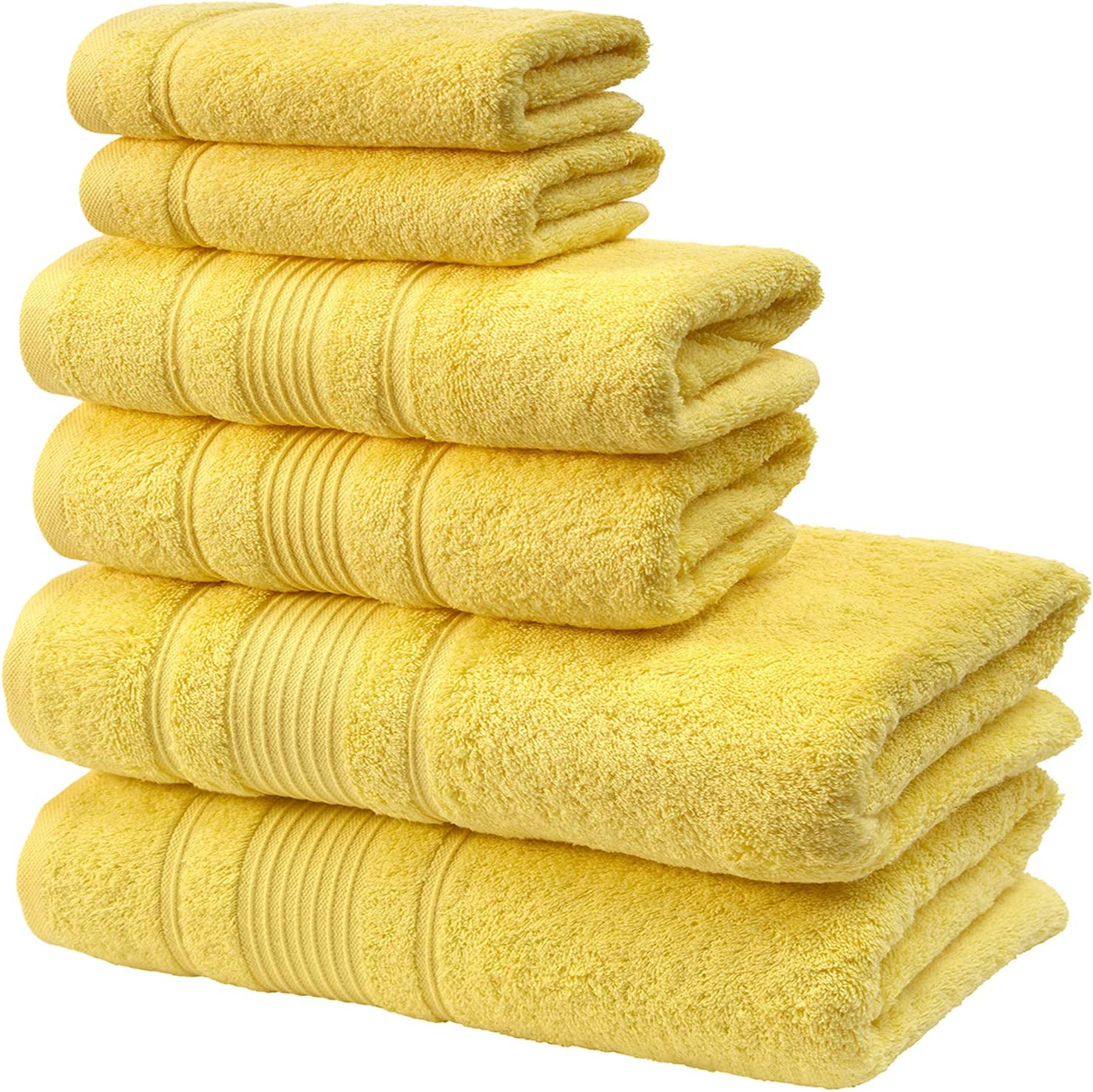 Qute Home Spa & Hotel Towels 6 Piece Towel Set, 2 Bath Towels, 2 Hand Towels, and 2 Washcloths - Yellow