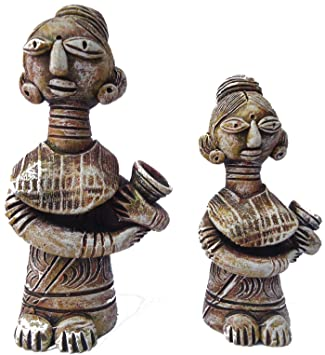 Buy Krishclay Terracotta Tribal Village Women Showpiece Tribal
