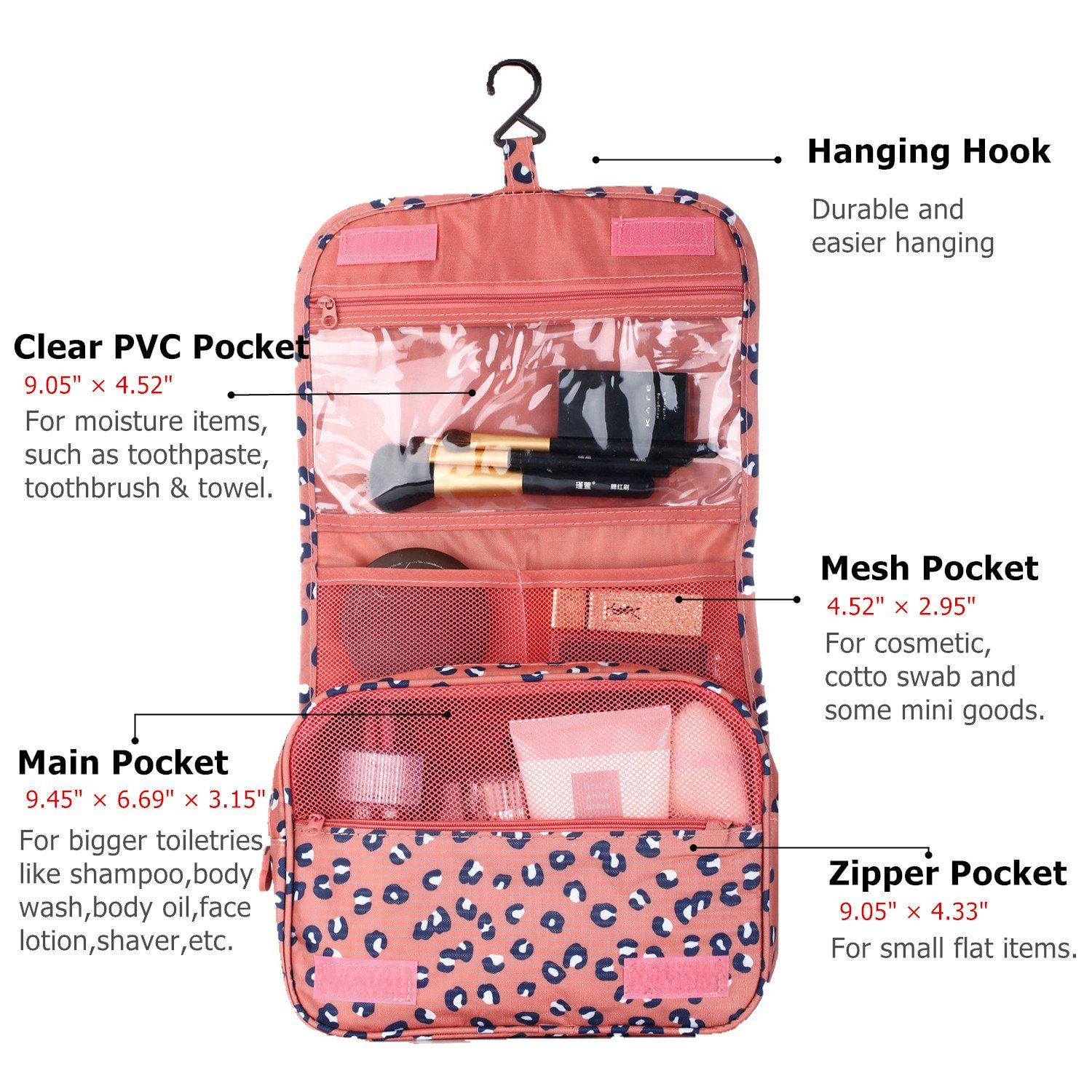 fe4a5d46eb Amazon.com   Hanging Toiletry Bag