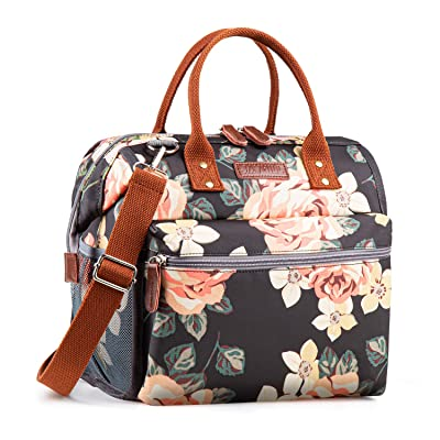 Floral Insulated Lunch Bags for Women Men, Large Lunch Tote Bag Lunch Cooler, Reusable Portable Lunch Box for Work School Outdoor Travel Shopping (Black Floral): Kitchen & Dining